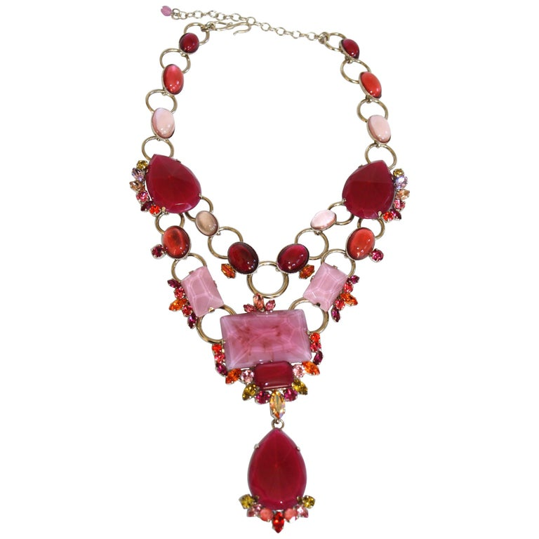 Philippe Ferrandis Pink and Fuchsia Statement Necklace For Sale
