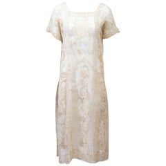1930s Beige Lace Dress