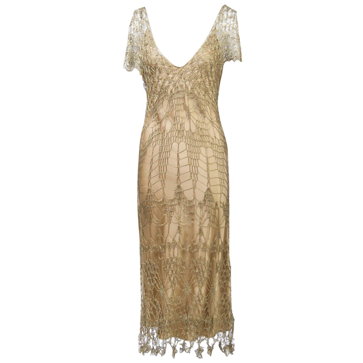 Donna Karan Metallic Gold Crochet Dress and Slip