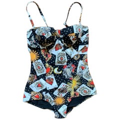 New Dolce & Gabbana Black Playing Card Print One Piece Bathing Suit Swim Suit