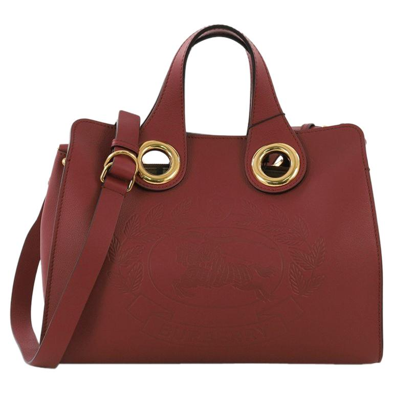 f2b4334da7f7 Burberry Crest Grommet Tote Embossed Leather Large For Sale at 1stdibs