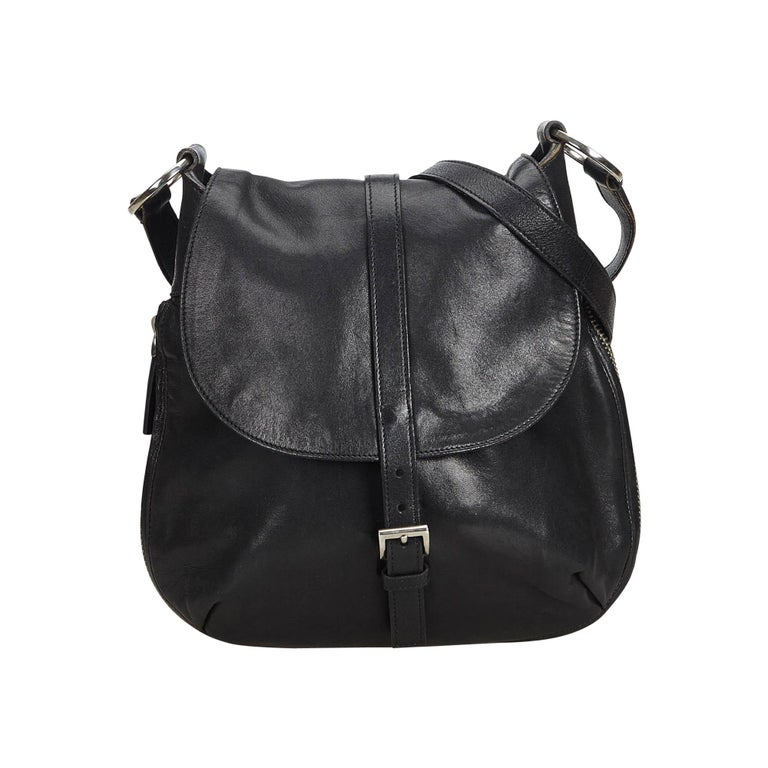 86a4ecb4daea Prada Black Leather Crossbody Bag Italy w/ Authenticity Card at 1stdibs