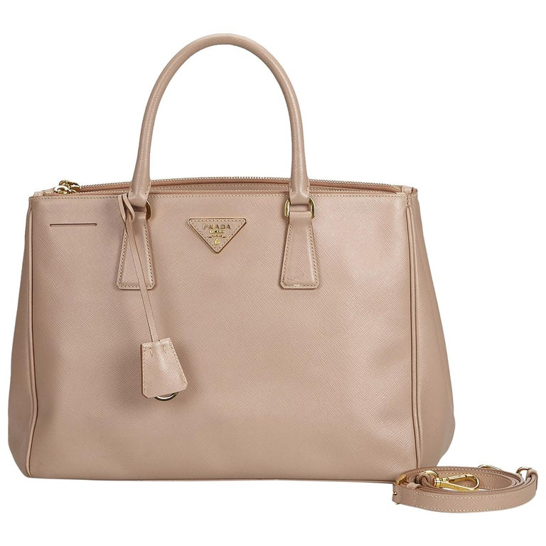 591e2b4a941d Prada Brown Beige Leather Saffiano Lux Double Zip Galleria Satchel Italy  For Sale