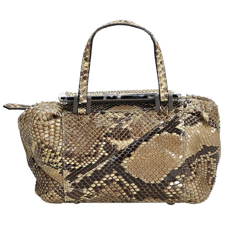 7eb514ecef83 Fendi Brown Beige Python Leather Leather Python Handbag Italy w  Dust Bag  For Sale