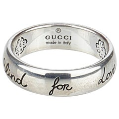 Gucci Silver Silver Metal Blind For Love Ring Italy w/ Dust BagBox