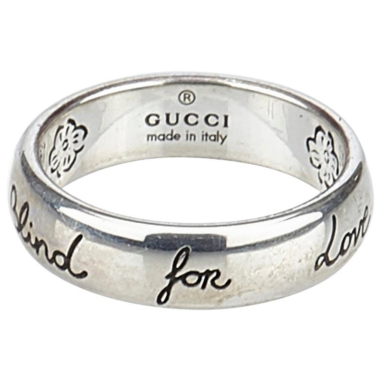 5631ea175 Gucci Silver Silver Metal Blind For Love Ring Italy w/ Dust BagBox For Sale