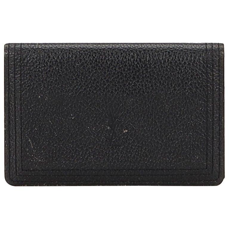 392b495f6b9d YSL Black Leather Card Holder France at 1stdibs