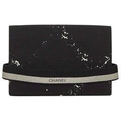 Chanel Black Nylon Fabric Old Travel Line Card Holder France