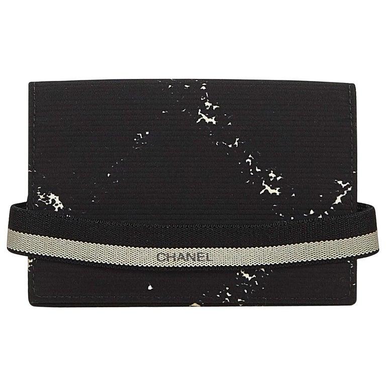 8aee24b6e533 Chanel Black Nylon Fabric Old Travel Line Card Holder France For Sale