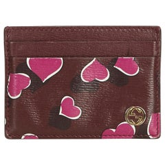 Gucci Red Bordeaux Leather Heartbeat Print Card Holder Italy
