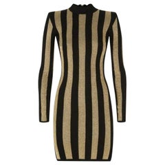 Balmain Mock-Neck Long-Sleeve Striped Knit Dress