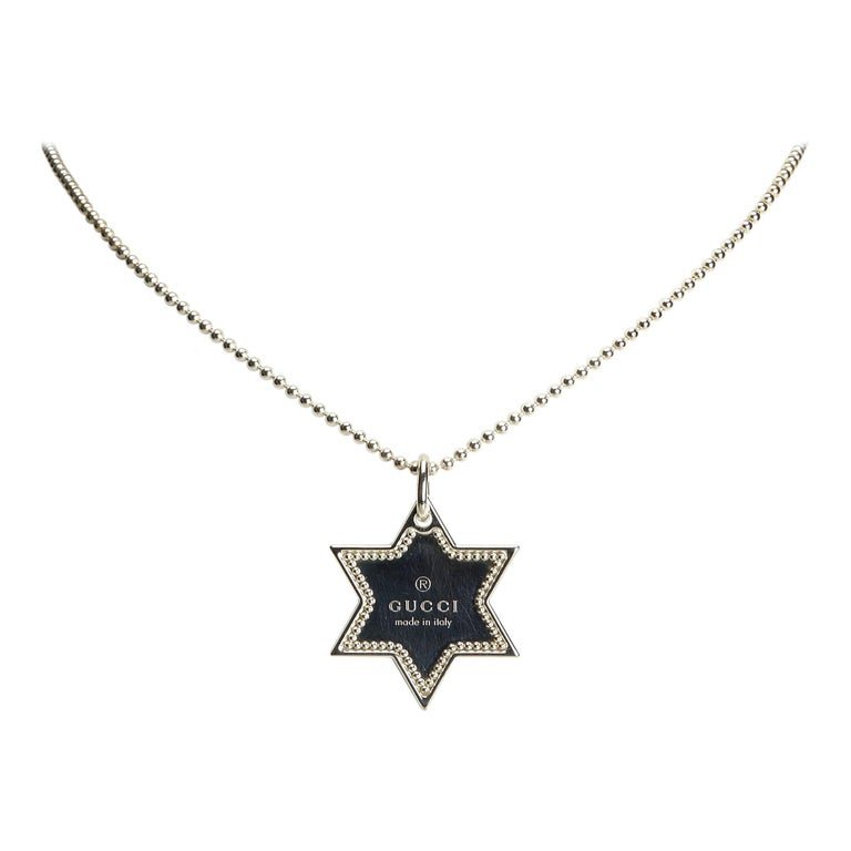 bad62f6f2 Gucci Silver SV925 / Sterling Silver Metal Star Dog Tag Necklace Italy For  Sale