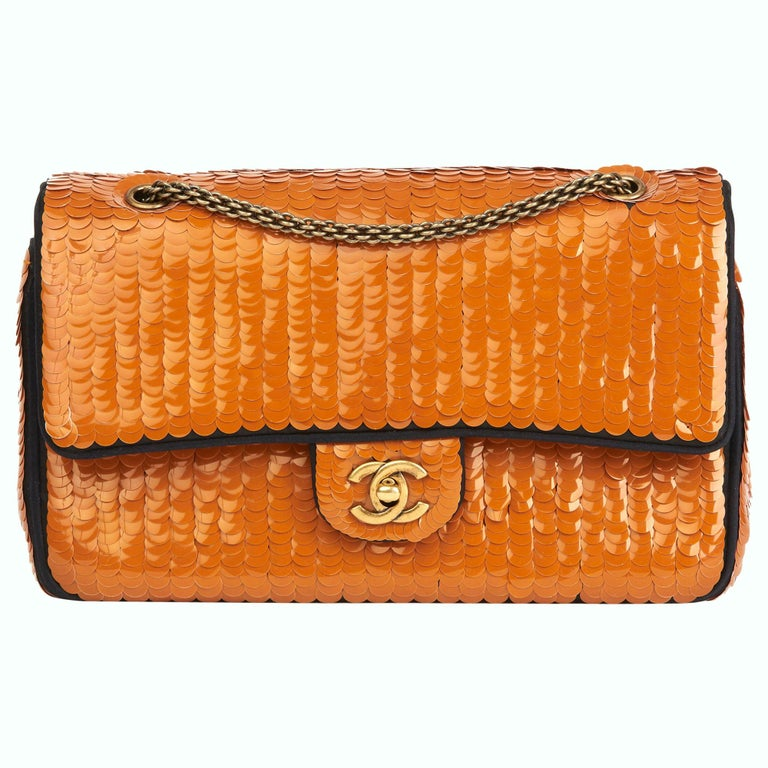 2010 Chanel Black Satin & Orange Sequin Paris-Shanghai Medium Classic For Sale
