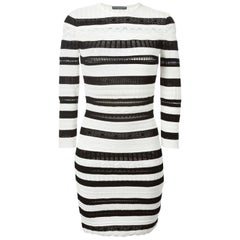 Alexander McQueen Striped Lace Knit Dress