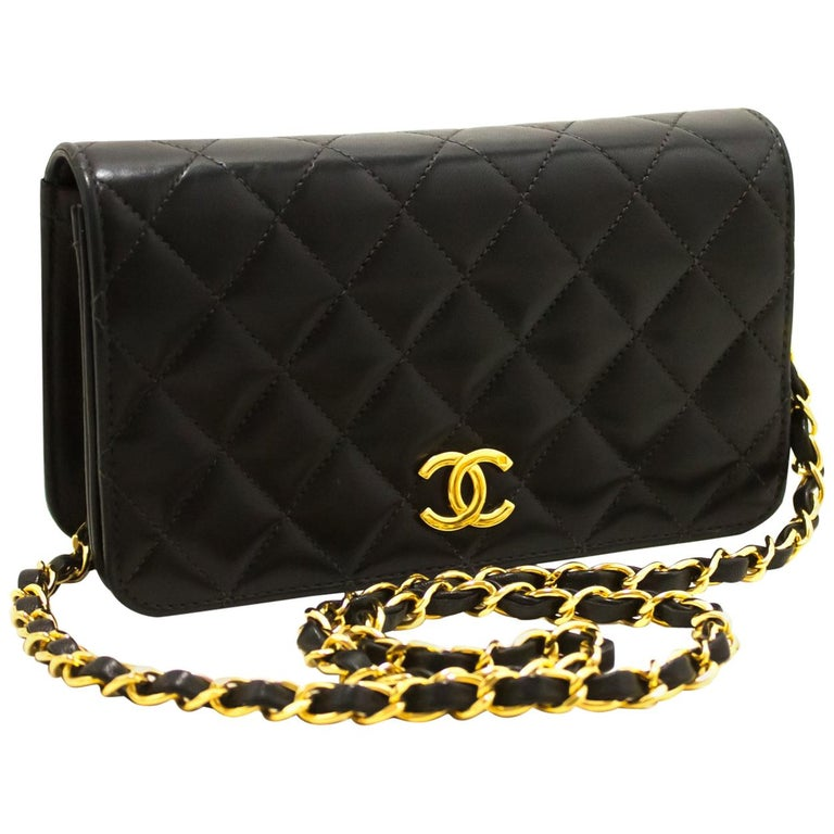 31cc28504c1f21 CHANEL Small Chain Shoulder Bag Black Clutch Flap Quilted Lambskin For Sale