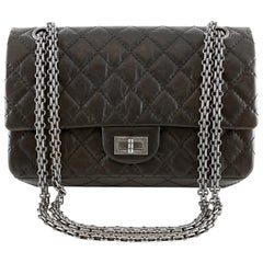 Chanel Black Distressed Calfskin 2.55 Reissue Double Flap Bag