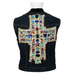 Christian Lacroix Vintage Iconic Jewelled Cross Denim Vest