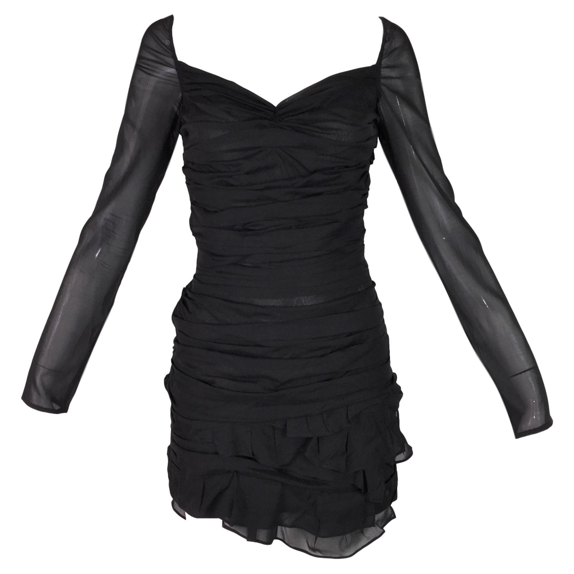 c8e34529b32 S/S 2003 Gucci Tom Ford Runway Black Silk Ruched Sheer L/S Mini Dress at  1stdibs