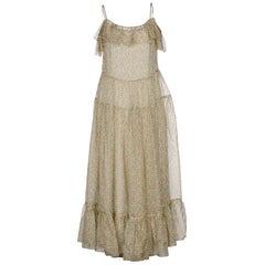 Saint Laurent Floral-Print Cold-Shoulder Maxi Dress