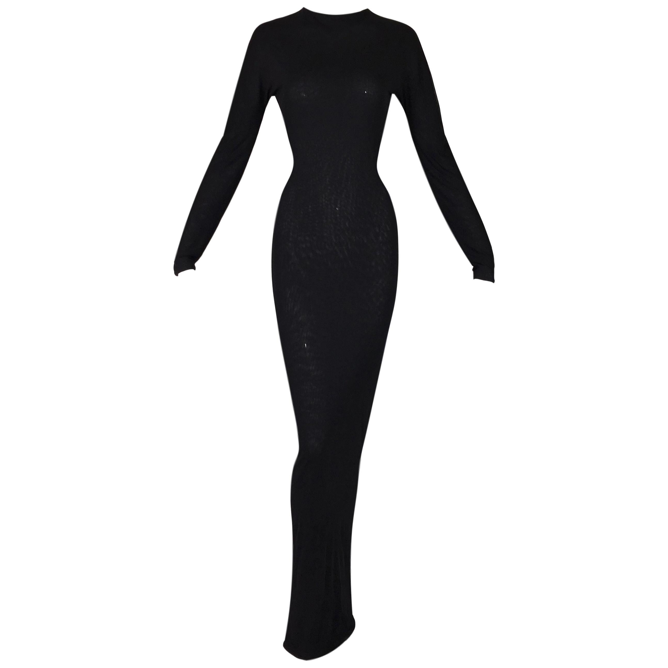 S/S 1998 Gucci Tom Ford Runway Semi-Sheer Black Bodystocking L/S Gown Dress