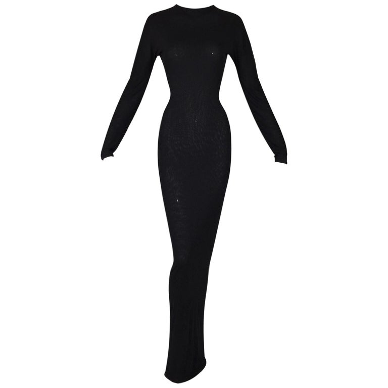 S/S 1998 Gucci Tom Ford Runway Semi-Sheer Black Bodystocking L/S Gown Dress For Sale