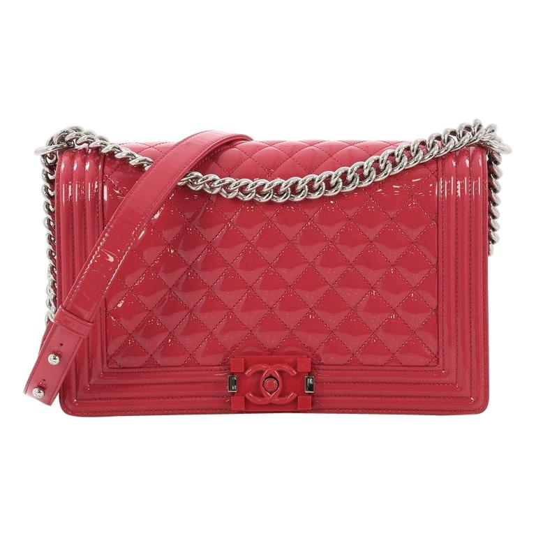 45ea80b187961b Chanel Boy Flap Bag Quilted Plexiglass Patent New Medium For Sale at 1stdibs