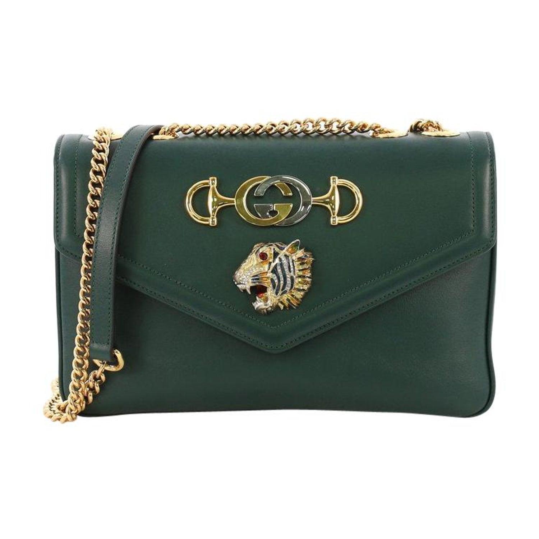 9ee0dd3c428 Gucci Rajah Chain Shoulder Bag Leather Medium For Sale at 1stdibs