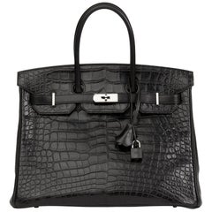 2014 Hermès Black Matte Alligator, Clemence & Box Calf Touch Birkin 35cm