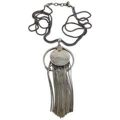 Jean Paul Gaultier Vintage Sterling Silver Fringed Pendant Necklace