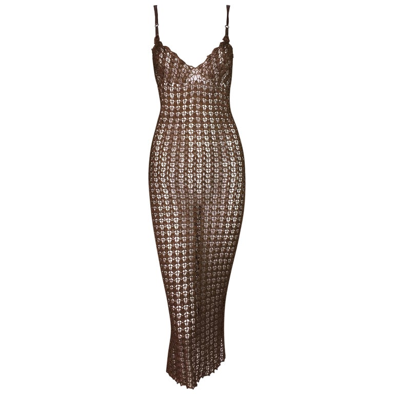 NWT 1990's Dolce & Gabbana Sheer Bronze Brown Knit Plunging Wiggle Dress For Sale