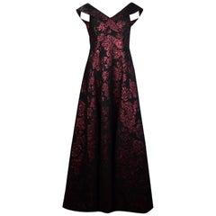 Rickie Freeman x Teri Jon NWT Black/Wine Brocade Gown sz 14