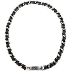 CHANEL 1996 Silver Tone Metal Black Leather Woven Curb Chain Label Plaque Belt