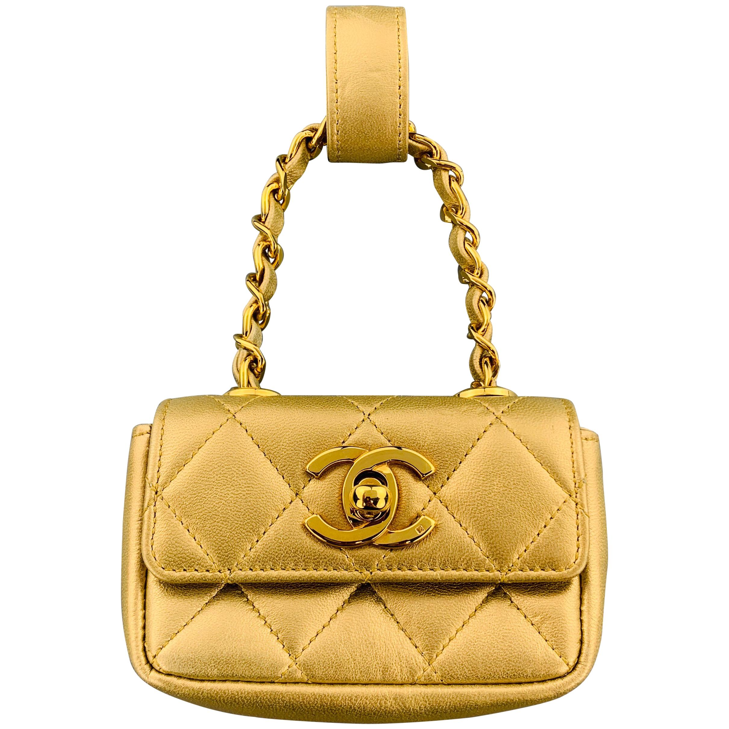1b15b8fbe53b CHANEL Vintage Gold Metallic Leather Quilted Mini Purse Charm Pouch at  1stdibs