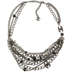 CHANEL 2003 Silver Tone Metal Multi Strand Layered Chain Statement Necklace