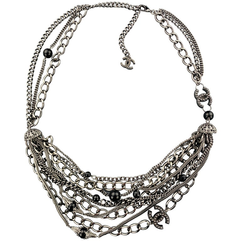 CHANEL 2003 Silver Tone Metal Multi Strand Layered Chain Statement Necklace For Sale