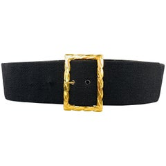 CHANEL Vintage Black Thick Wool Leather Gold Tone Twist Buckle Belt