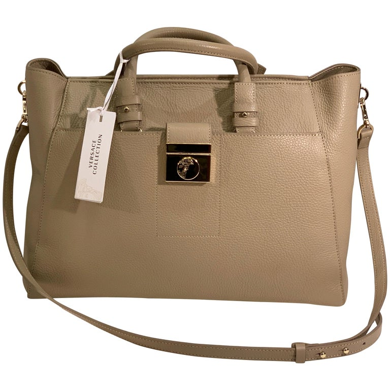 Large Versace Collection Neutral Textured Leather Tote Bag Purse Retail 1765.00 For Sale