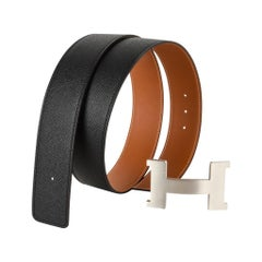Hermes Belt Constance 42mm Kit Reversible Gold / Black Brushed Palladium 90