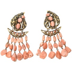 Pair of Signed Vintage Iradj Moini Coral, Citrine & Rhinestone Dangle Earrings