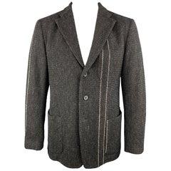 ISSEY MIYAKE L Black Tweed Wool Blend Notch Lapel Jacket