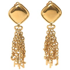 Vintage Chanel Pair of Gold Plated Charm Dangle Clip On Earrings