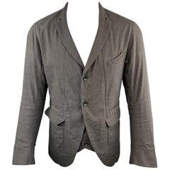 ZIGGY CHEN 40 Charcoal Textured Cotton / Linen Peak Lapel Jacke