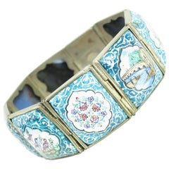 Persian Isfahan Silver Enamel Articulated Panel Bracelet, Artist-Signed 1930s