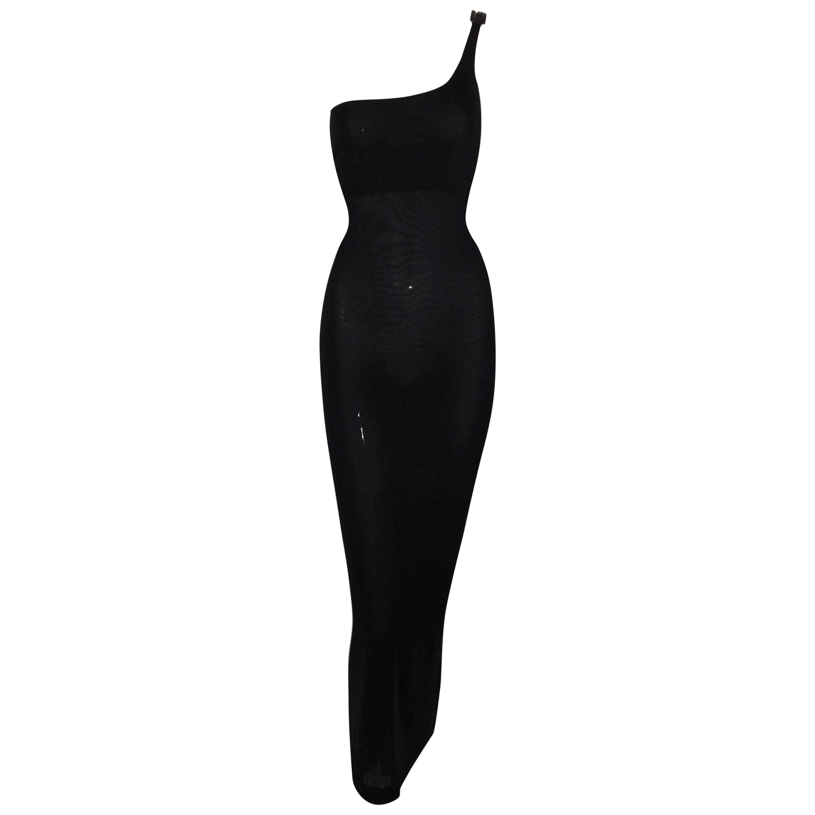 1998 Gucci by Tom Ford Black One Shoulder Crystal G Gown Dress