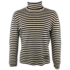 RRL by RALPH LAUREN Size XL Navy & Cream Stripe Wool Turtleneck Sweater