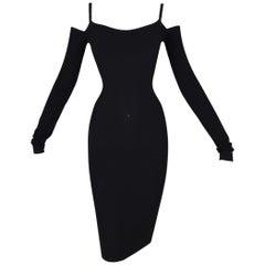 1991 Dolce & Gabbana Black Bodycon Off Shoulder L/S Wiggle Pin-Up Dress