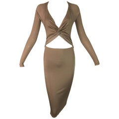 S/S 2005 Gucci Cut Out Gold Backless Wiggle Dress XS