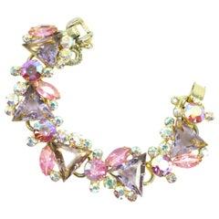 DeLizza & Elster Juliana Lilac & Pink Crystal Link Bracelet, 1960s