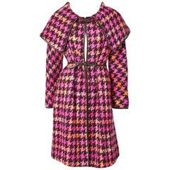 Bonnie Cashin Houndstooth Pattern Wool Coat