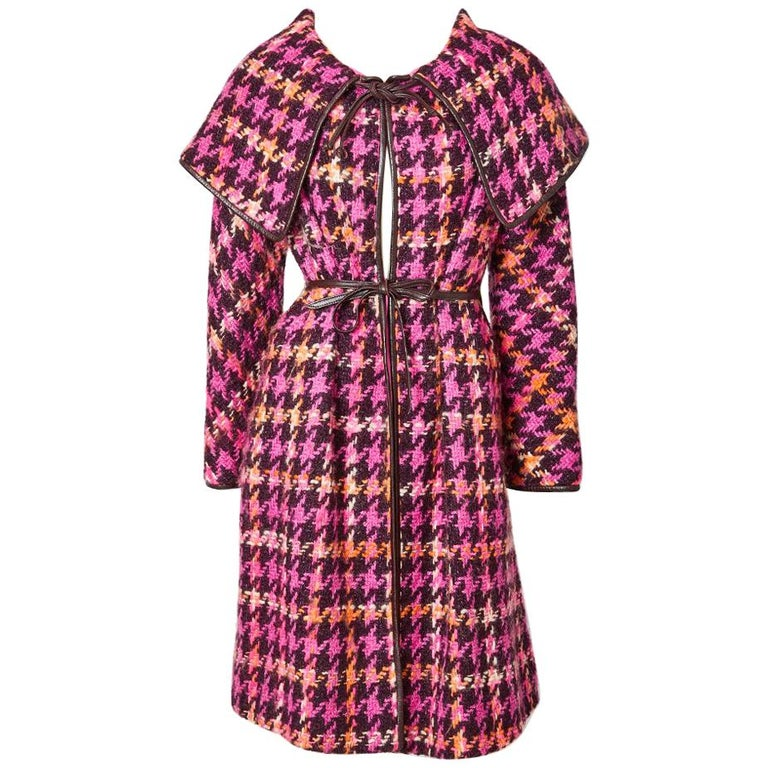 Bonnie Cashin Houndstooth Pattern Wool Coat For Sale